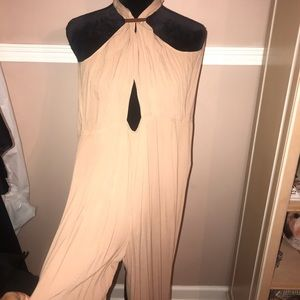 Nude Jumpsuit with gold bar embellishment